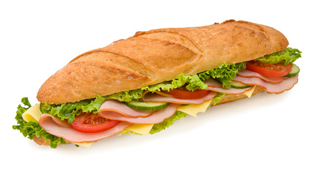 Footlong ham & swiss submarine sandwich isolated on white